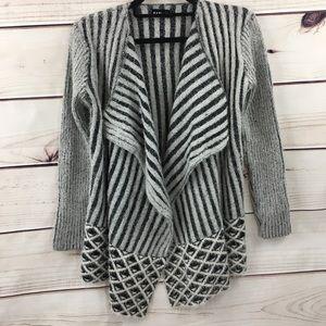KARI LYN Soft Cascading Open Stripped Cardigan